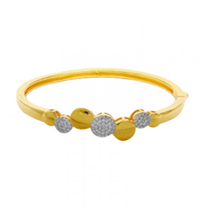 But Its Free - Italian Design 18K Yellow Gold / Sterling Silver Bangle with 0.83 ctw Brilliant Cut CZ