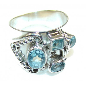 But Its Free - Amazing Swiss Blue Topaz Sterling Silver Ring s. 8 1/4