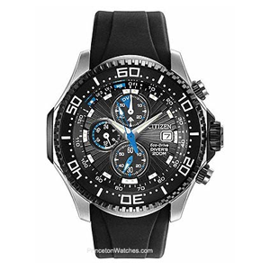 But Its Free - Citizen Eco-Drive Aqualand Diver - Black Dial with Blue Accents - Rubber Strap