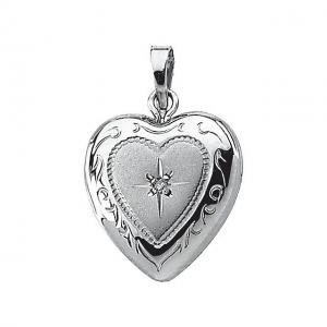 But Its Free - Sterling Silver Heart Picture Locket W/ Genuine Diamond