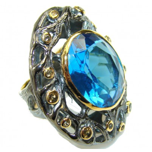 But Its Free - Italy Made,Rhodium Plated, 18ct Gold Plated London Blue Topaz Sterling Silver Ring s. 7 1/4