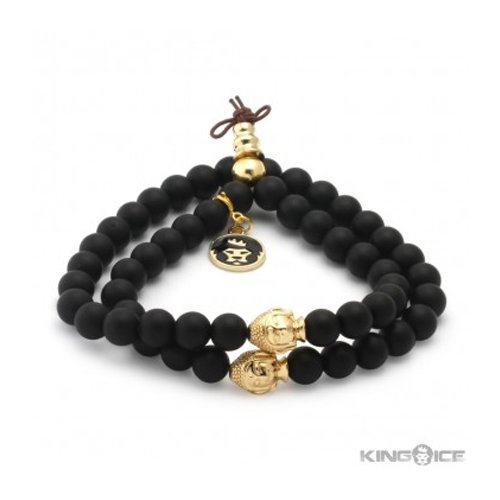 But Its Free - King Ice Matte Onyx Buddha Meditation Wrap Bracelet