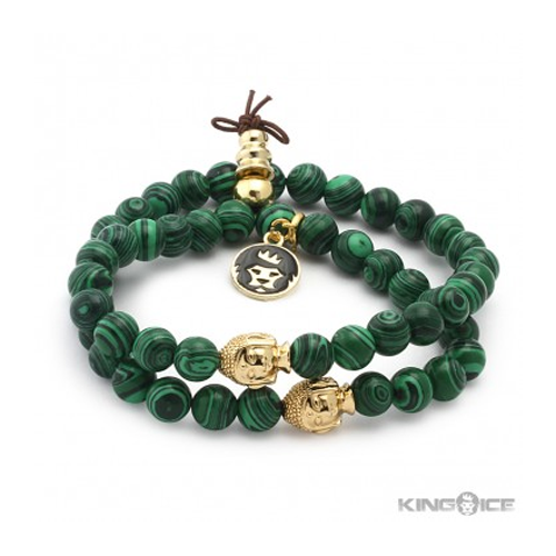 But Its Free - King Ice Malachite Buddha Meditation Wrap Bracelet