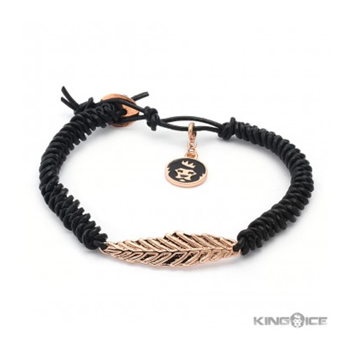 But Its Free - Rose Gold Leaf Braided Leather Wrap Bracelet