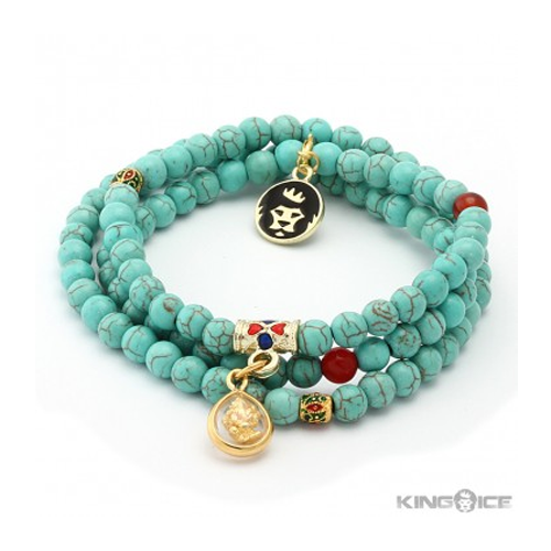 But Its Free - King Ice Turquoise Ganesha Elephant Wrap Bracelet
