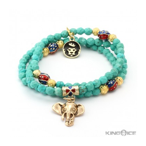 But Its Free - King Ice Cut Turquoise Gold Elephant Wrap Bracelet