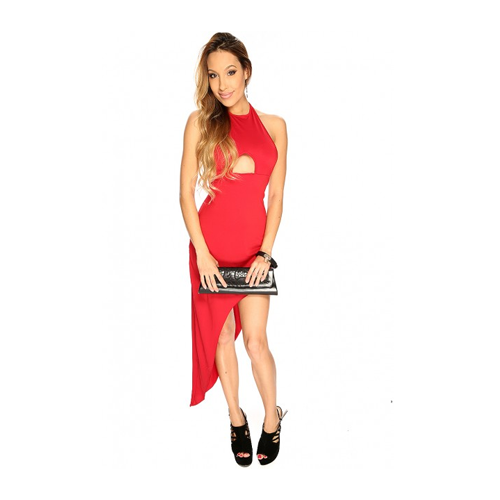 But Its Free - Wine Cut Out Asymmetrical Sexy Halter Party Dress