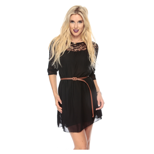 But Its Free - Black Woven Lace A Line Dress