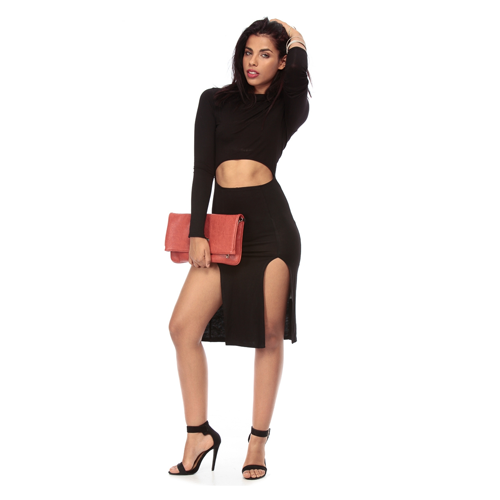 But Its Free - Bold in Black Body Con Double Slit Dress