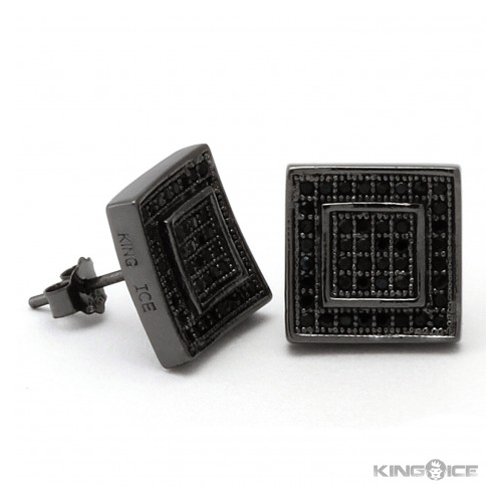 But Its Free - King Ice Black 925 Silver Black Rhodium Inner Square Earrings