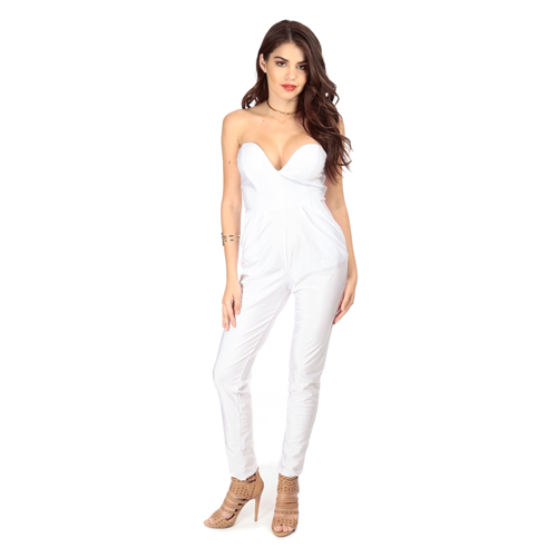 But Its Free - White Plunging Strapless Jumpsuit