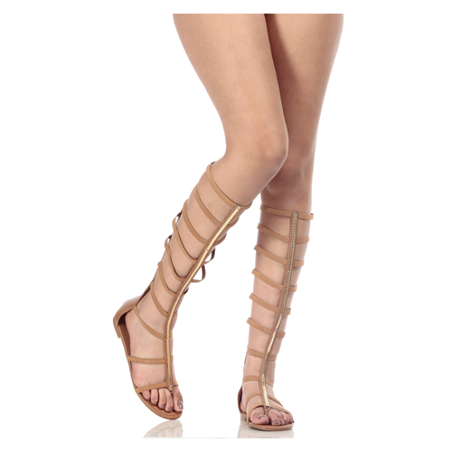 But Its Free - Tan Faux Leather Caged Elastic Strap Gladiator Sandals