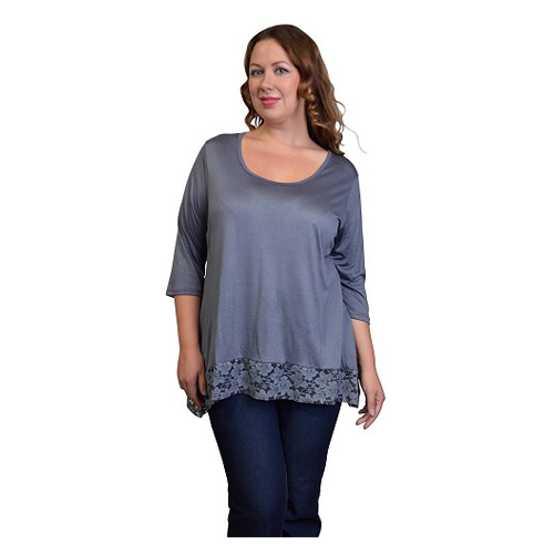 But Its Free - Solid Colored Top with Contrast Hemline-id.29988a