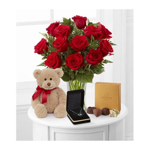 But Its Free - 1 Dozen Long Stem Red Roses with Bear Heart Pendant and Godiva - FedEx
