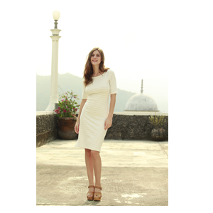 But Its Free - Chimp Fitted Sheath Dress Cream