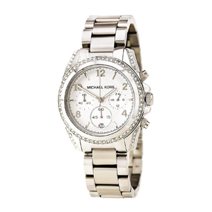But Its Free - Michael Kors MK5165 Women's SS Chronograph Silver Dial Crystal Watch