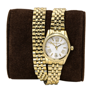 But Its Free - Michael Kors MK3269 Women's Lexington Petite White Dial Gold Tone Twice Warp Bracelet Watch