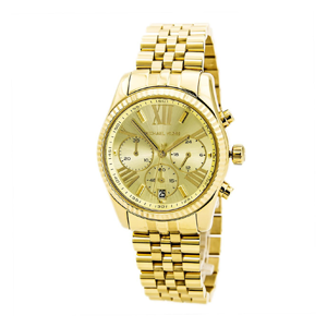 But Its Free - Michael Kors MK5556 Women's Lexington Gold Tone Dial Gold Plated Chrono Watch