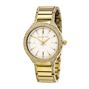 But Its Free - Michael Kors MK3347 Women's Kerry Pave Crystal Bezel White Dial Yellow Gold Steel Bracelet Watch