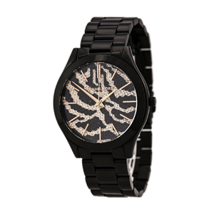 But Its Free - Michael Kors MK3316 Women's Slim Runway Zebra Pattern Pave Crystal Black Dial Black IP Steel Bracelet Watch