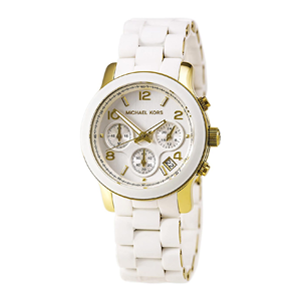 But Its Free - Michael Kors MK5145 Women's Gold Tone Rubber Bracelet MOP Dial Chronograph Watch