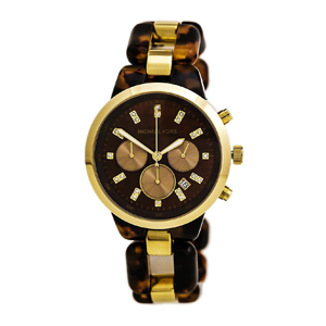 But Its Free - Michael Kors MK5609 Women's Showstopper Tortoise Acetate & Steel Link Bracelet Chrono Watch