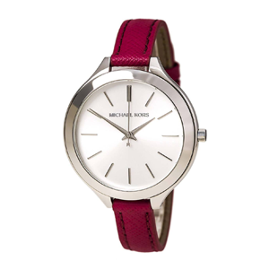 But Its Free - Michael Kors MK2272 Women's Slim Runway Silver Dial Pink Leather Strap Watch