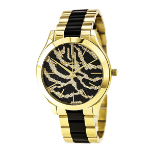 But Its Free - Michael Kors MK3315 Women's Slim Runway Zebra Pattern Crystal Accented Dial Two Tone Bracelet Watch
