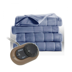 But Its Free - Sunbeam Heated Electric Blanket Quilted Fleece Full Size Dusty Blue