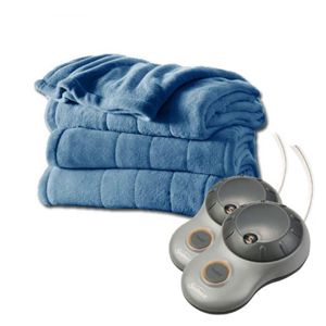 But Its Free - Sunbeam Heated Electric Blanket Channeled Microplush Queen Size Heritage Blue