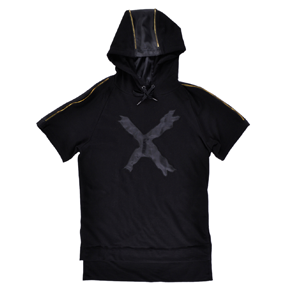 But Its Free - Long Length Hoodie Mens Extra Elongated Short Sleeve Shirt Black Krome Fashion