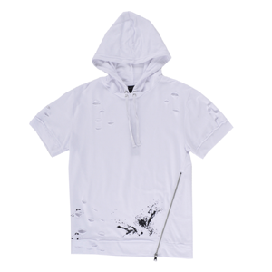 But Its Free - Hoodie Laser Cut Long Length Short Sleeve Elongated Mens White Krome Fashion