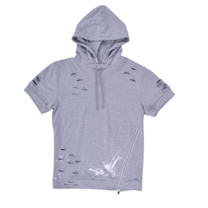 But Its Free - Hoodie Laser Cut Long Length Short Sleeve Elongated Mens Krome Fashion Gray Top