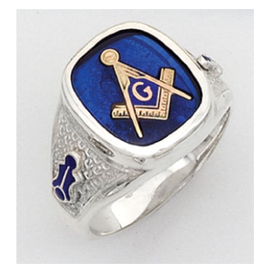 But Its Free - Masonic Rings - Sterling Silver Simulated Blue Sapphire Masonic Ring with Square and Compass Symbol