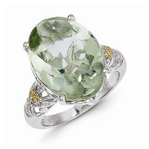 But Its Free - - Sterling Silver with Genuine 14k Green Quartz Ring