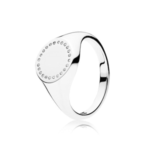 PANDORA Circle Signet Ring, Clear Cubic Zirconia