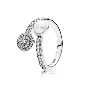 PANDORA Luminous Glow Ring, White Crystal Pearl and Clear Cubic Zirconia