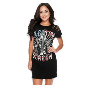 But Its Free - Sexy Black Graphic Print Razor Cut Short Sleeve Casual Dress