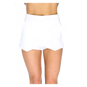 But Its Free - Sexy White Overlay Back High Polish Zipper Closure High Waist Shorts