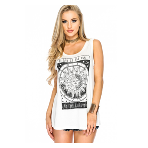 But Its Free - Sexy White Graphic Print Open Back Sleeveless Casual Top