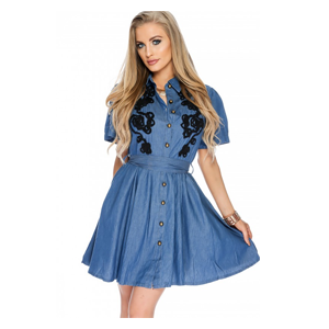 But Its Free - Sexy Blue Denim Short Sleeves A-Line Casual Summer Dress