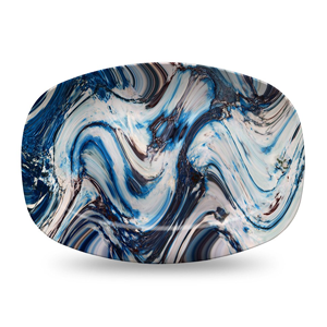 But Its Free - Blue Marble Serving Platter by elise flashman