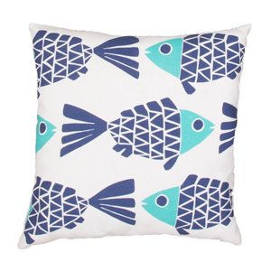 But Its Free - Veranda Pillow in Cloud Dancer & Bijou Blue design by Jaipur
