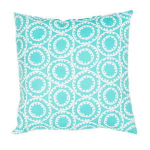 But Its Free - Veranda Pillow in Turquoise & Cloud Dancer design by Jaipur